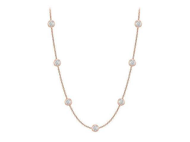 Diamonds By The Yard Necklace in 14K Rose Gold Bezel Set 0.25.ct.tw