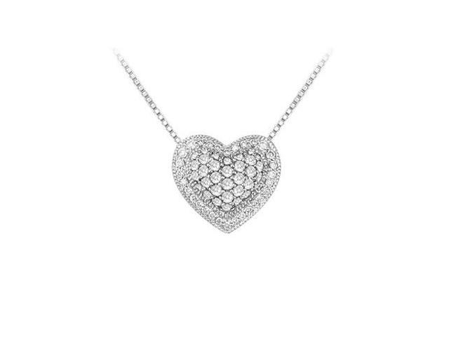 Diamond Heart Pendant  14K White Gold - 0.75 CT Diamonds