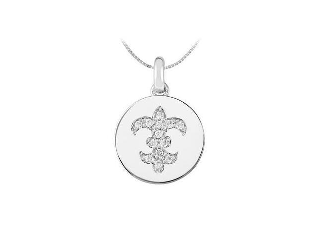 Diamond Fleur De Lis Disc Pendant in 14K White Gold 0.30 Carat Diamonds
