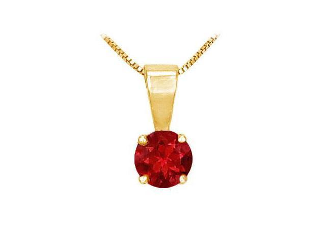 Ruby Solitaire Pendant  14K Yellow Gold - 1.00 CT TGW