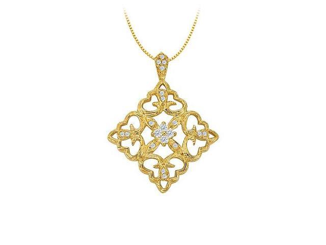 Cubic Zirconia Square Shaped Pendant in Yellow Gold Vermeil over Sterling Silver  0.25 CT TGW