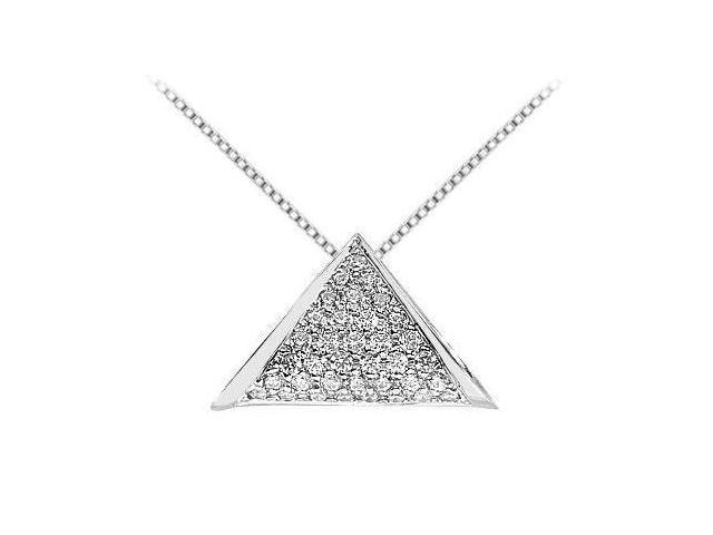 Diamond Triangle Pendant in 14K White Gold 0.75 Carat Diamonds