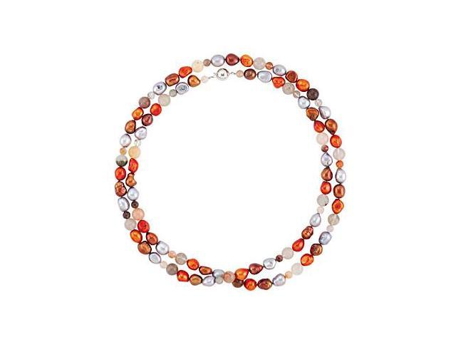 Freshwater Cultured Dyed Multi Color Pearl and Agate Beads 42 Inch Necklace in Silver Lock