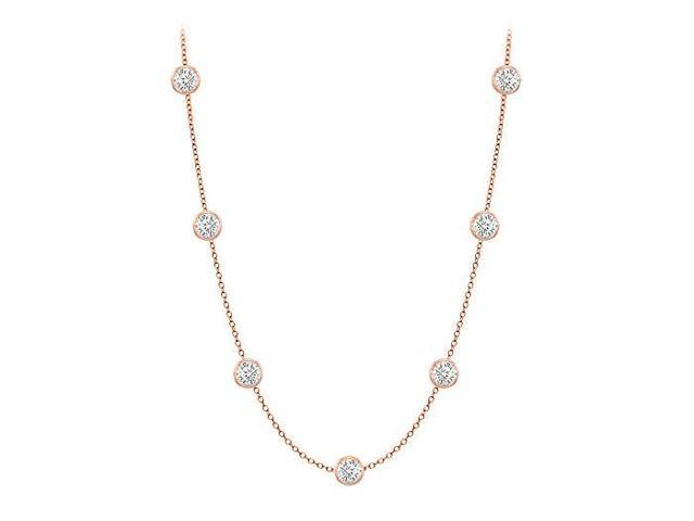 Diamonds By The Yard Necklace in 14K Rose Gold Bezel Set 0.50 ct.tw