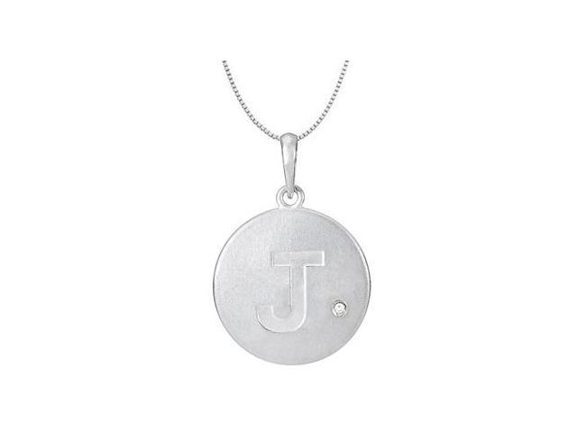 Block Letter J Disc Pendant with Single Diamond Accent in 14K White Gold High Polished