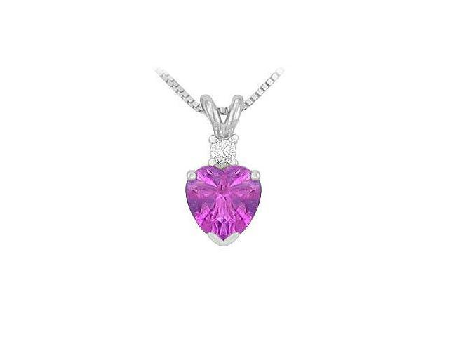 Diamond and Amethyst Solitaire Pendant  14K White Gold - 1.00 CT TGW