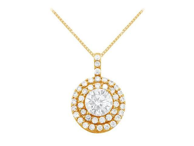 Cubic Zirconia Halo Pendant in Yellow Gold Vermeil over Sterling Silver 2.50 CT TGW