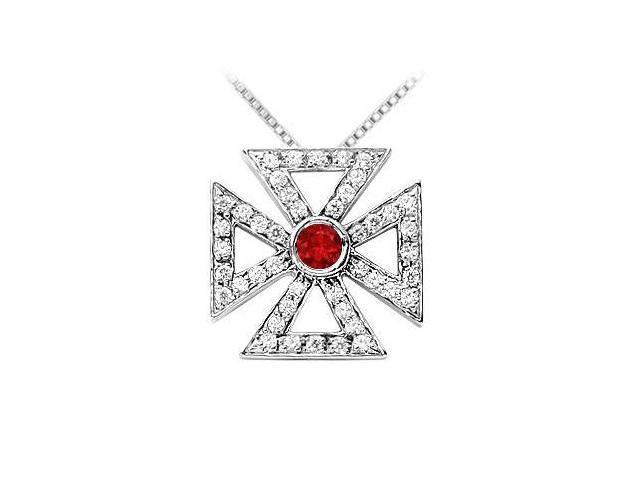 Ruby and Diamond Maltese Cross Pendant  14K White Gold - 0.75 CT TGW