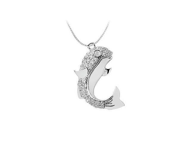 Fish Pendant with CZ Accented in 14K White Gold 1ct. TGW.