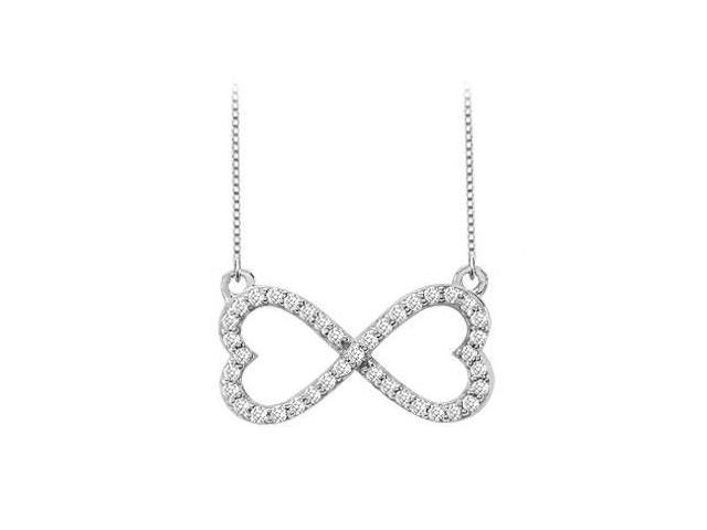 Infinity Diamond Double Heart Design Necklace in 14K White Gold 0.50 Carat Diamonds