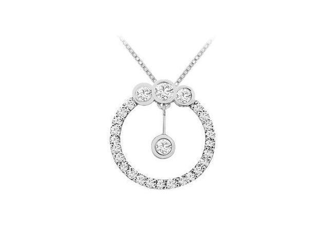 Diamond Circle Pendant  14K White Gold - 0.75 CT Diamonds