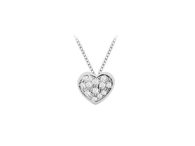 Pave Set Diamond Heart Pendant in 14K White Gold Quarter Carat Diamonds