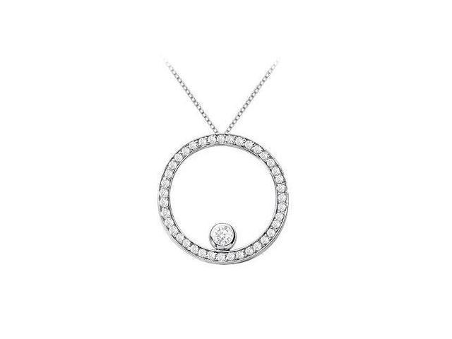 Diamond Circle of love Pendant in 14K White Gold 1 Carat Diamonds