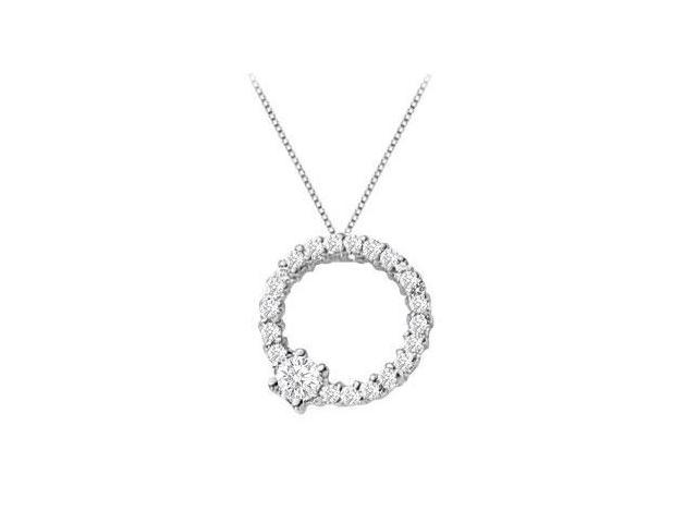 Circle of Life Pendant with Half a Carat Diamonds in White gold 14K