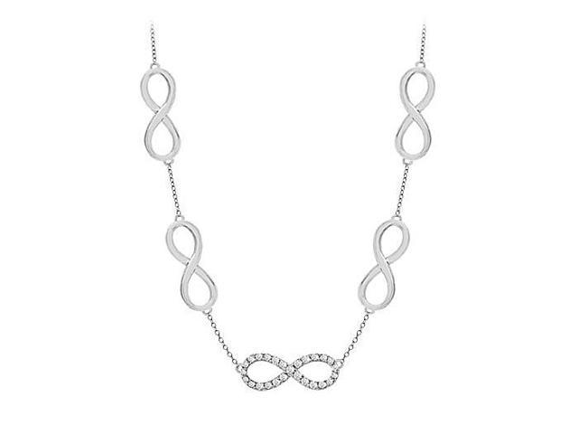 Link Infinity Necklace with CZ Tripe AAA Quality in .925 Sterling Silver half a Carat Total CZ