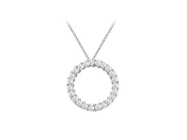 14K White Gold Half Carat Diamonds Circle of Life Eternity Pendant