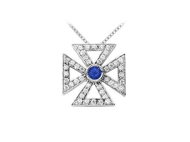 Sapphire and Diamond Maltese Cross Pendant  14K White Gold - 0.75 CT TGW
