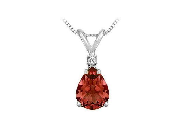 Diamond and Garnet Solitaire Pendant  14K White Gold - 1.00 CT TGW