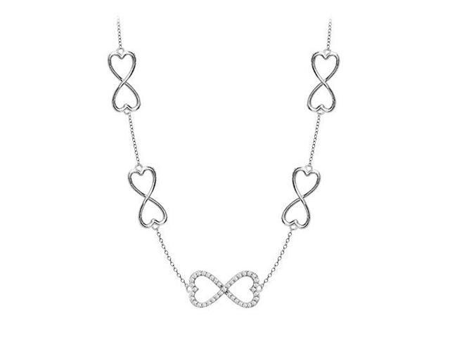 .925 Sterling Silver Heart Link Infinity Necklace with Half a Carat CZ Tripe AAA Quality