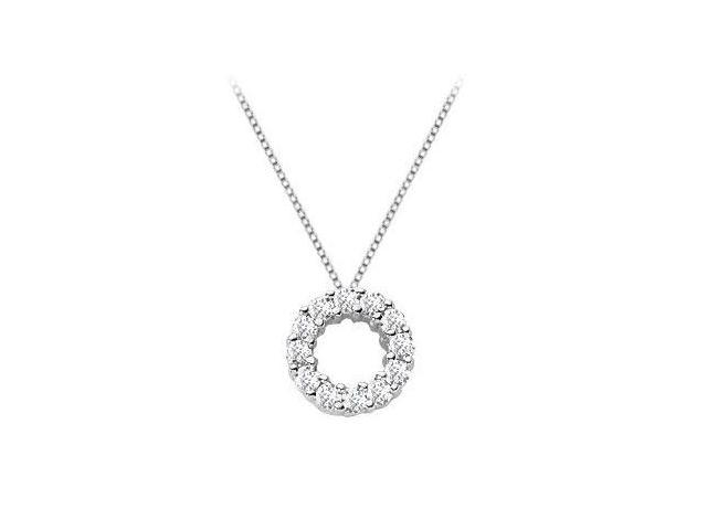 Necklace with Circle Pendant in 14K White Gold 0.50 Carat Diamonds
