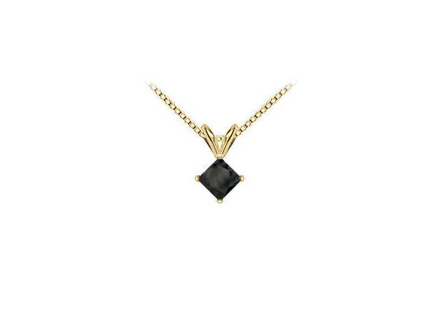 14K Yellow Gold  Princess Cut Black Diamond Solitaire Pendant - 1.75 CT. TW.
