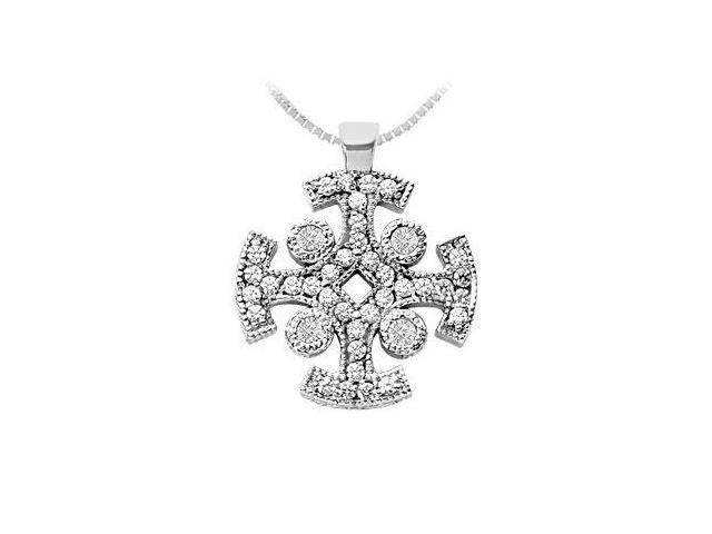 Diamond Cross Pendant  14K White Gold - 1.50 CT Diamonds