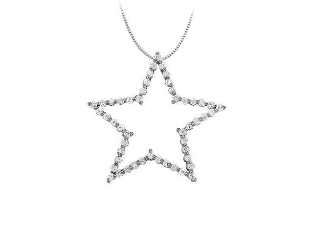 Cubic Zirconia Star Pendant in 14K White Gold 1.00 CT TGWPerfect Jewelry Gift