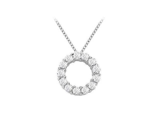 Circle of love diamond pendant necklace in white gold 14k with 1 carat diamonds
