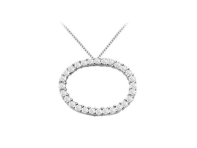 14K White Gold Oval Diamond Circle Pendant with 1.50 Carat Diamonds