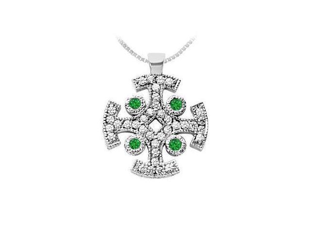 Emerald and Diamond Cross Pendant  14K White Gold - 1.50 CT TGW