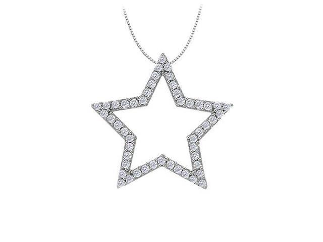 Cubic Zirconia Star Pendant in 14K White Gold 0.50 CT TGWPerfect Jewelry Gift
