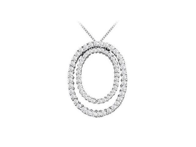 Double Oval Diamond Circle of Life Pendant Necklace in 14K White Gold 1.60 Carat Diamonds