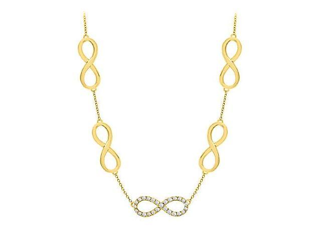 Link Infinity Necklace Tripe AAA Quality CZ in Sterling Silver 18K Yellow Gold Vermeil 0.50 CT
