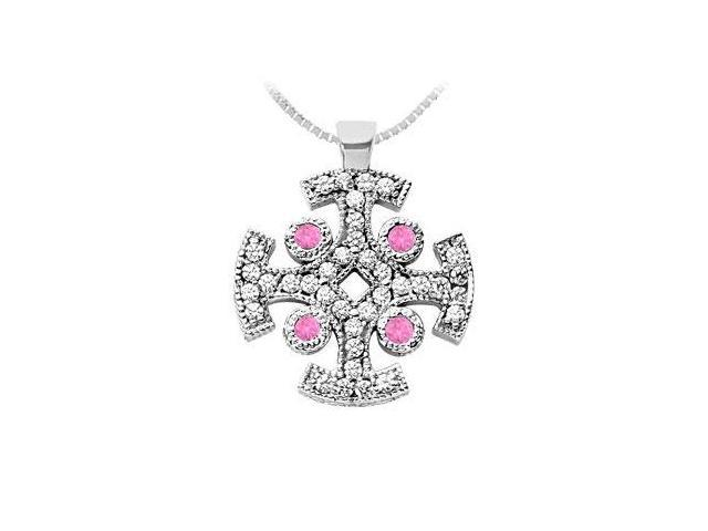 Pink Sapphire and Diamond Cross Pendant  14K White Gold - 1.50 CT TGW