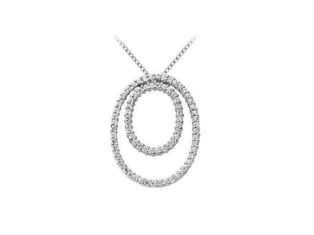 Circle of Love Diamond Pendant Double Oval Shape in 14K White Gold 1.25 Carat Diamonds