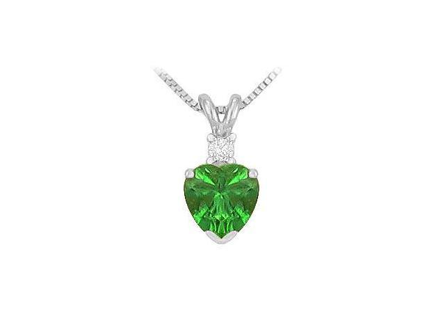Synthetic Heart Shaped Emerald Solitaire Pendant  .925 Sterling Silver - 1.00 CT TGW