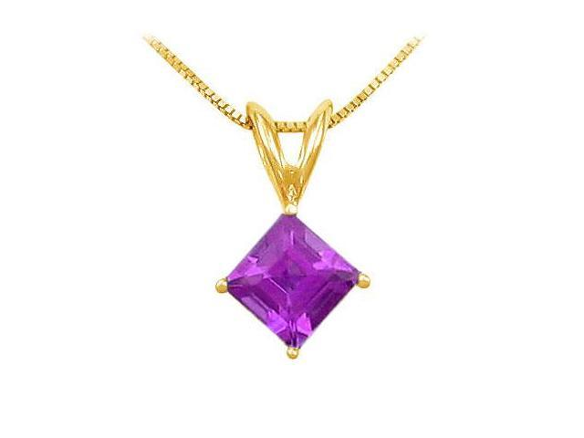 Amethyst Solitaire Pendant  14K Yellow Gold - 1.00 CT TGW