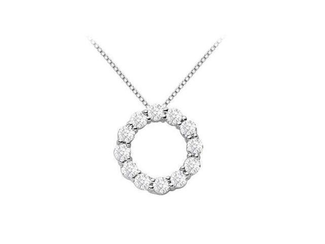 Diamond Open Circle Pendant with 1.25 Carat Diamonds in White Gold 14K