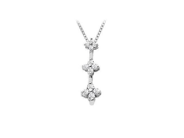 Diamond Flowers Pendant  14K White Gold - 0.25 CT Diamonds