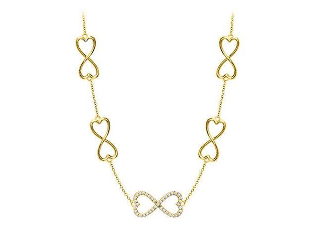 18K Yellow Gold Vermeil CZ Heart Link Infinity Necklace in Sterling Silver Half a Carat Total CZ