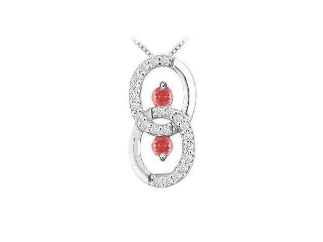 Ruby and Diamond Circle Pendant  14K White Gold - 1.00 CT TGW