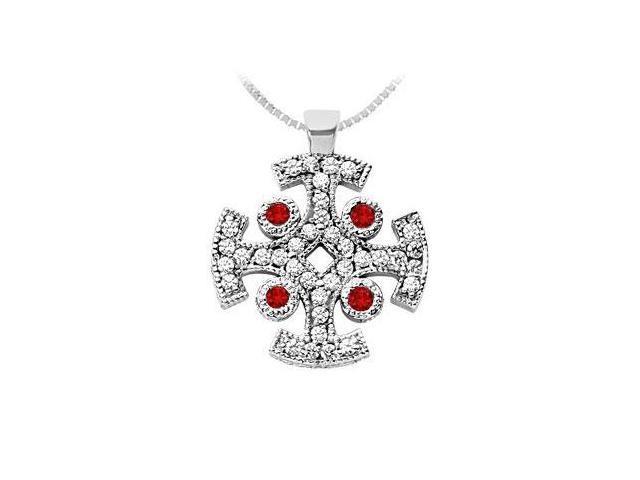Ruby and Diamond Cross Pendant  14K White Gold - 1.50 CT TGW