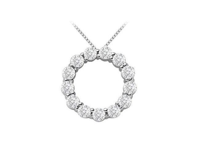 2 carat diamonds circle of life pendant in 14k white gold 16 Inch Necklace
