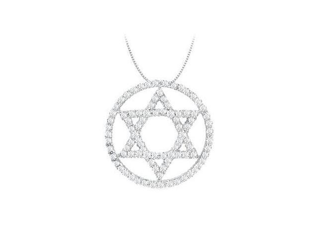 Star of David Pendant Circle diamonds of 0.30 Carat in 14K White Gold