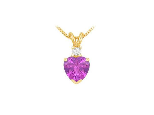 Diamond and Amethyst Solitaire Pendant  14K Yellow Gold - 1.00 CT TGW