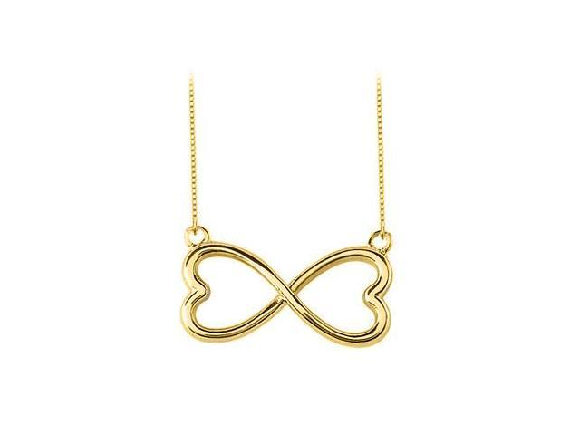18K Yellow Gold Vermeil in Sterling Silver Heart Infinity Pendant Necklace