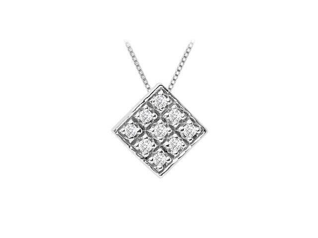 Diamond Kite Shaped Pendant  14K White Gold - 0.33 CT Diamonds