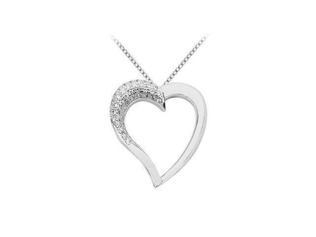 Pave Set Diamond Heart Pendant with 0.75 Carat Diamonds in White Gold 14K