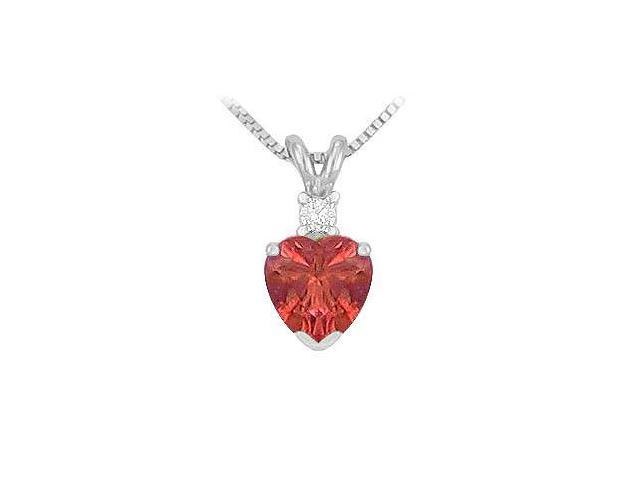 Synthetic Heart Shaped Ruby Solitaire Pendant  .925 Sterling Silver - 1.00 CT TGW