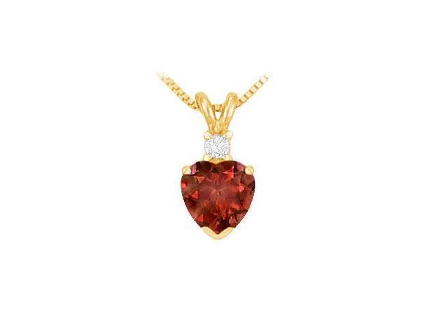 Diamond and Garnet Solitaire Pendant  14K Yellow Gold - 1.00 CT TGW